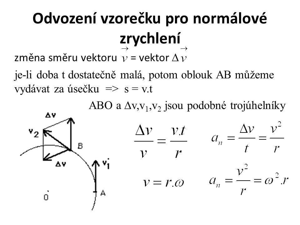 Odvození vzorečku pro normálové zrychlení změna směru vektoru = vektor ∆ je-li doba t dostatečně malá, potom oblouk AB můžeme vydávat za úsečku => s =