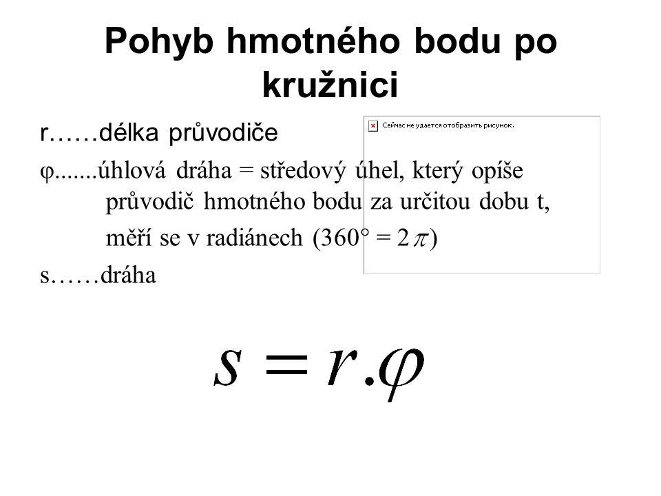 Pohyb hmotného bodu po kružnici r……délka průvodiče φ.......úhlová dráha = středový úhel, který opíše průvodič hmotného bodu za určitou dobu t, měří se
