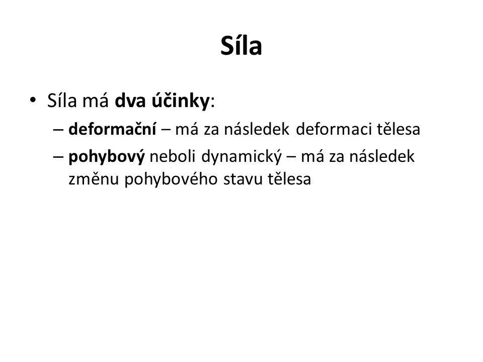 Síla Síla má dva účinky: – deformační – má za následek deformaci tělesa – pohybový neboli dynamický – má za následek změnu pohybového stavu tělesa