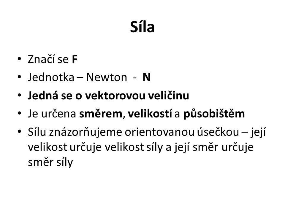 Síla Značí se F Jednotka – Newton - N Jedná se o vektorovou veličinu Je určena směrem, velikostí a působištěm Sílu znázorňujeme orientovanou úsečkou –