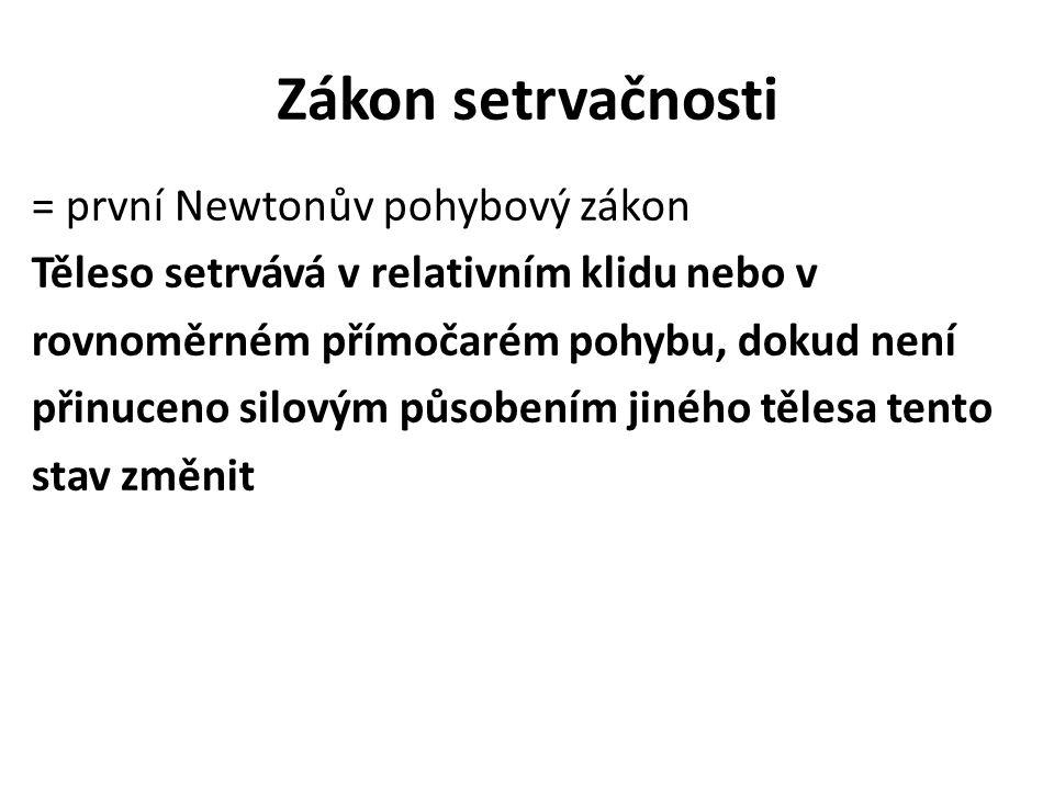 Zákon setrvačnosti = první Newtonův pohybový zákon Těleso setrvává v relativním klidu nebo v rovnoměrném přímočarém pohybu, dokud není přinuceno silov