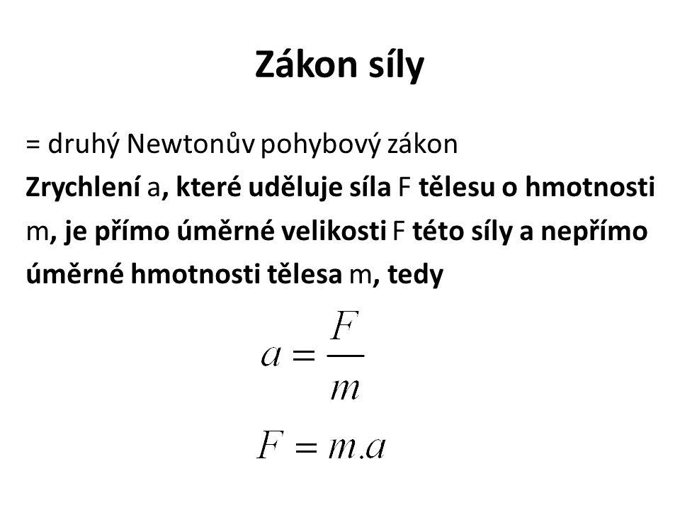 Zákon síly = druhý Newtonův pohybový zákon Zrychlení a, které uděluje síla F tělesu o hmotnosti m, je přímo úměrné velikosti F této síly a nepřímo úmě