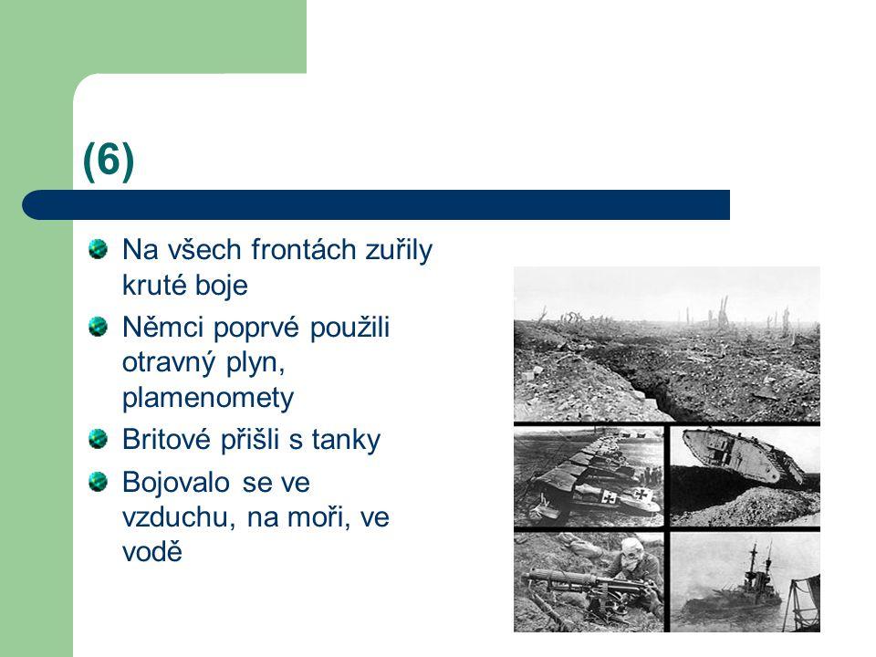 (6) Na všech frontách zuřily kruté boje Němci poprvé použili otravný plyn, plamenomety Britové přišli s tanky Bojovalo se ve vzduchu, na moři, ve vodě