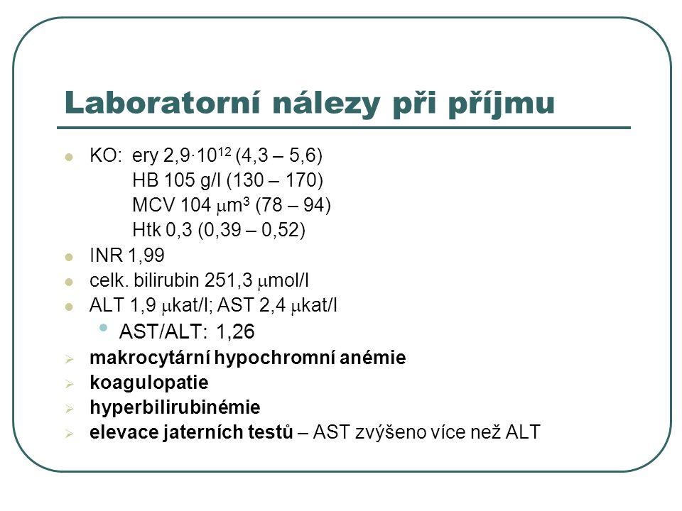 Laboratorní nálezy při příjmu KO: ery 2,9·10 12 (4,3 – 5,6) HB 105 g/l (130 – 170) MCV 104  m 3 (78 – 94) Htk 0,3 (0,39 – 0,52) INR 1,99 celk.