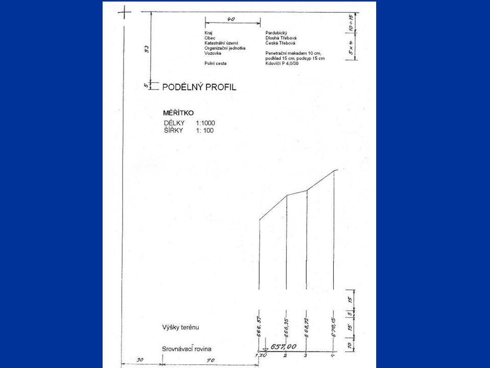 Niveleta prostorová čára, která zobrazuje výškový průběh cesty prostorová čára, která zobrazuje výškový průběh cesty vyrovnává nerovnosti terénu v podélném průřezu osy cesty Ve výšce koruny Ve výšce pláně