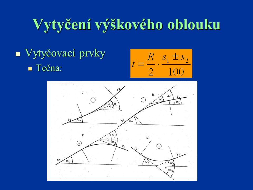 Vytyčení výškového oblouku Pravoúhlé souřadnice v zaoblení Pravoúhlé souřadnice v zaoblení Pravoúhlé souřadnice středu Pravoúhlé souřadnice středu Tabulka vytyčovacích prvků výškových oblouků Tabulka vytyčovacích prvků výškových oblouků