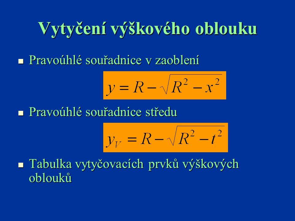 Vytyčení výškového oblouku Pravoúhlé souřadnice v zaoblení Pravoúhlé souřadnice v zaoblení Pravoúhlé souřadnice středu Pravoúhlé souřadnice středu Tab