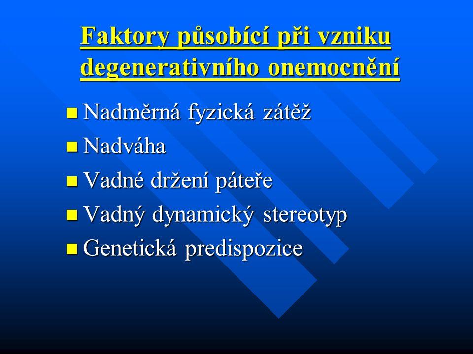 Faktory působící při vzniku degenerativního onemocnění Nadměrná fyzická zátěž Nadměrná fyzická zátěž Nadváha Nadváha Vadné držení páteře Vadné držení