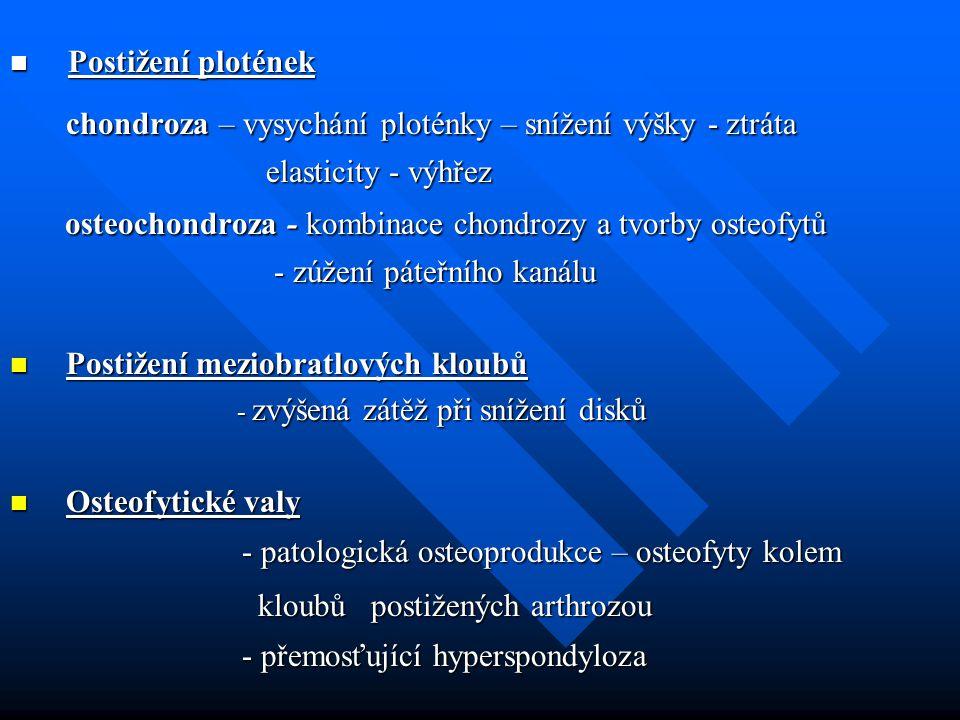 chondroza – vysychání ploténky – snížení výšky - ztráta chondroza – vysychání ploténky – snížení výšky - ztráta elasticity - výhřez elasticity - výhře