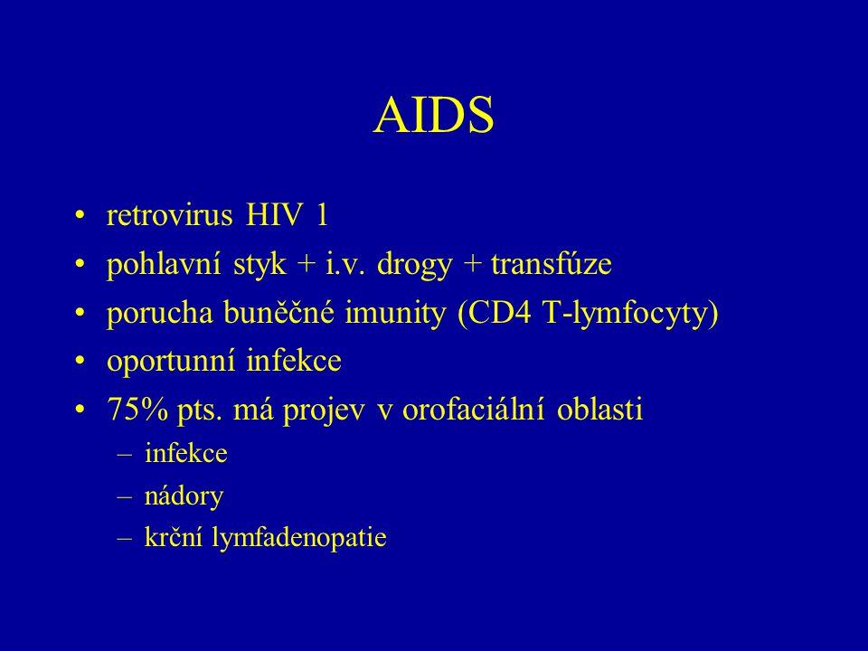 AIDS retrovirus HIV 1 pohlavní styk + i.v.