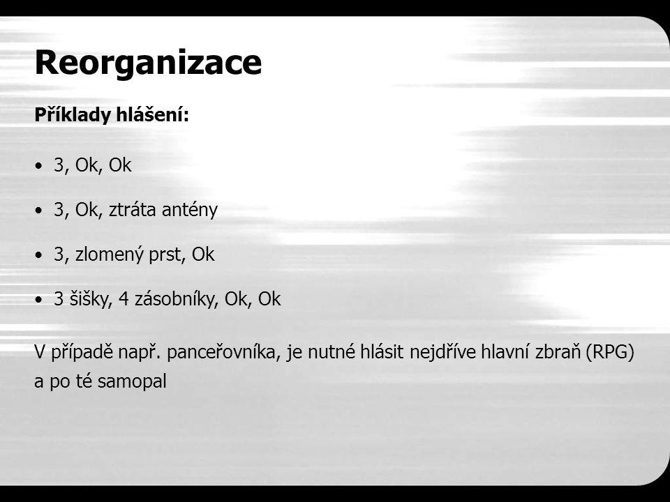 Reorganizace Příklady hlášení: 3, Ok, Ok 3, Ok, ztráta antény 3, zlomený prst, Ok 3 šišky, 4 zásobníky, Ok, Ok V případě např.