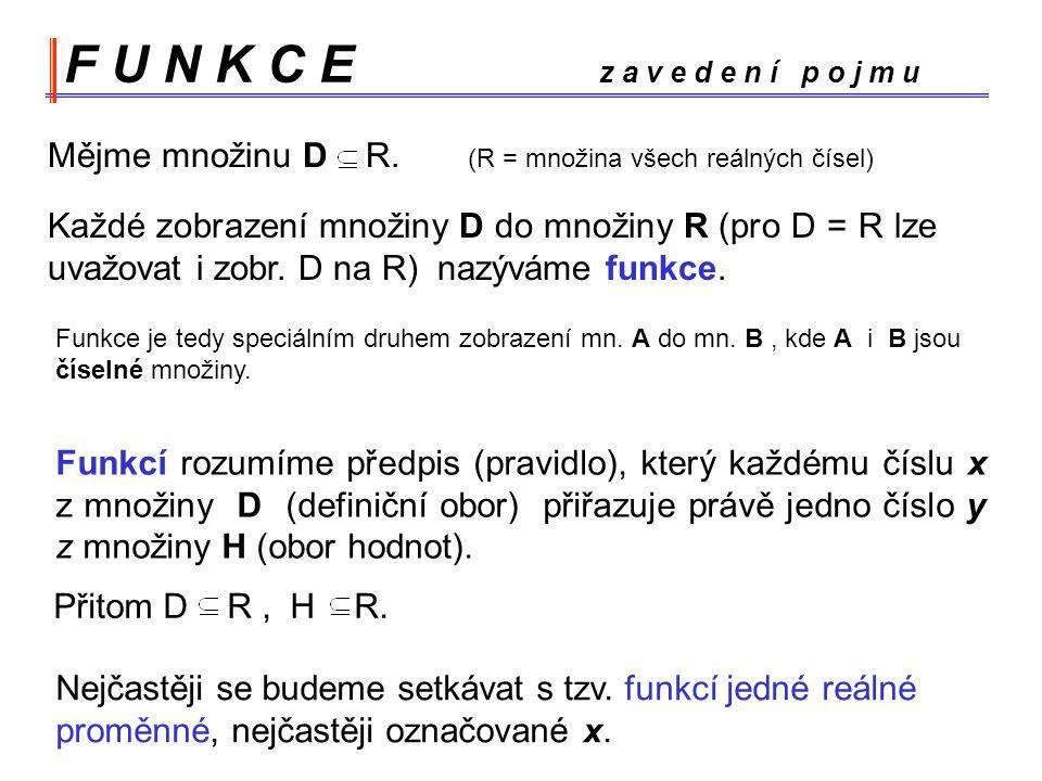 F U N K C E z a v e d e n í p o j m u Každé zobrazení množiny D do množiny R (pro D = R lze uvažovat i zobr.