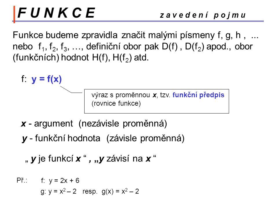 F U N K C E z a v e d e n í p o j m u Funkce budeme zpravidla značit malými písmeny f, g, h,...