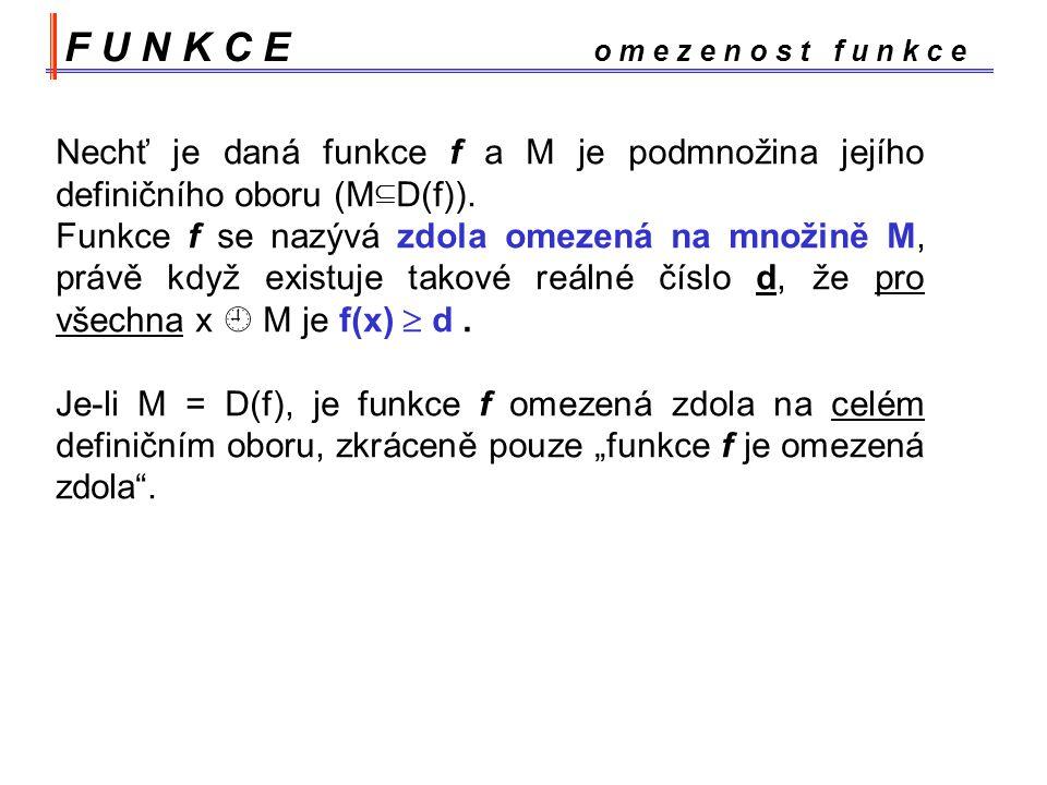 F U N K C E o m e z e n o s t f u n k c e Nechť je daná funkce f a M je podmnožina jejího definičního oboru (M  D(f)).
