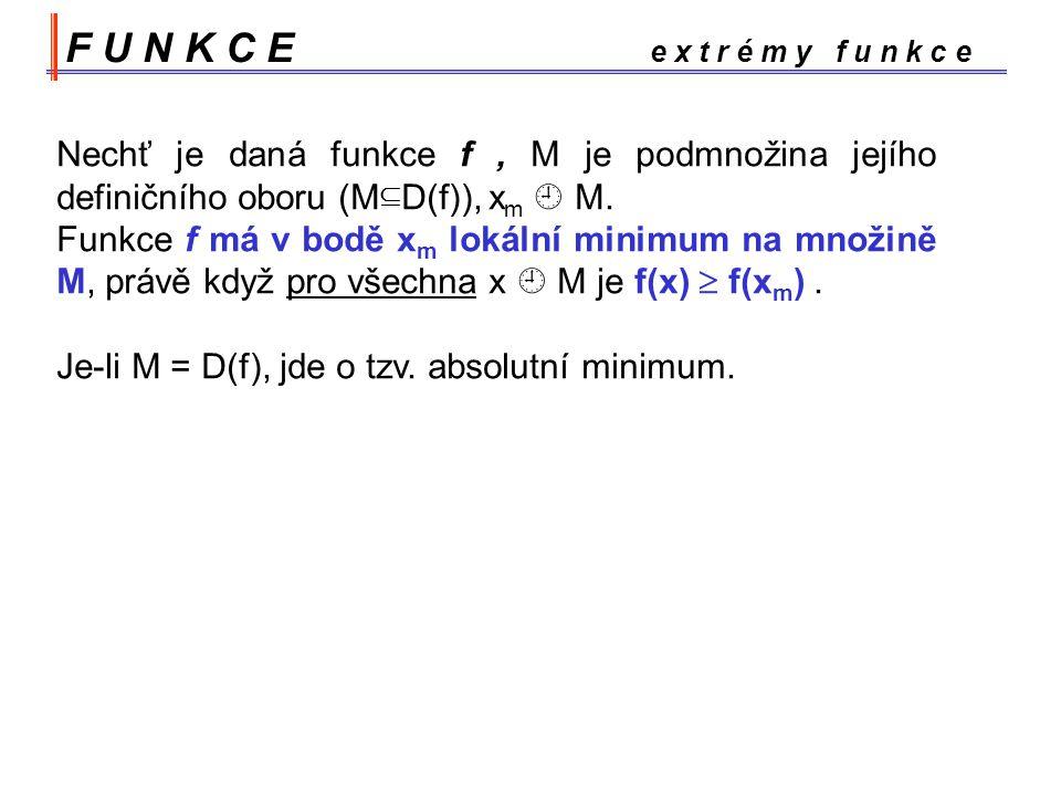 F U N K C E e x t r é m y f u n k c e Nechť je daná funkce f, M je podmnožina jejího definičního oboru (M  D(f)), x m  M.