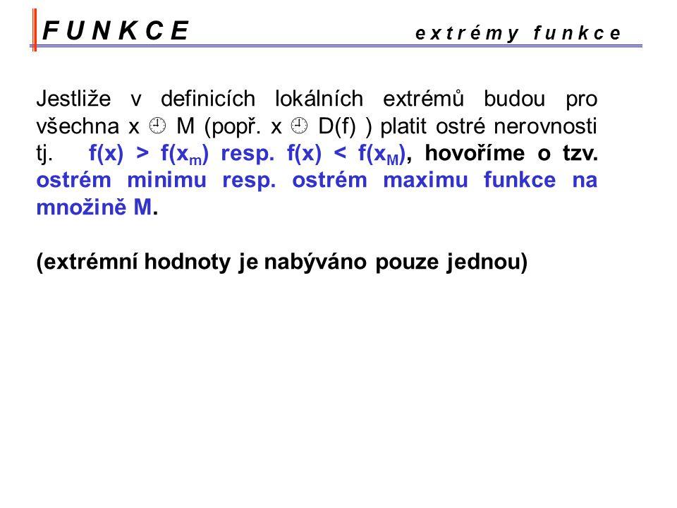 F U N K C E e x t r é m y f u n k c e Jestliže v definicích lokálních extrémů budou pro všechna x  M (popř.