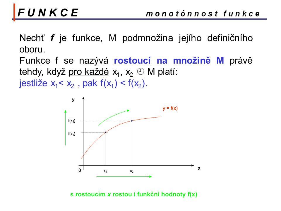 F U N K C E m o n o t ó n n o s t f u n k c e Nechť f je funkce, M podmnožina jejího definičního oboru.