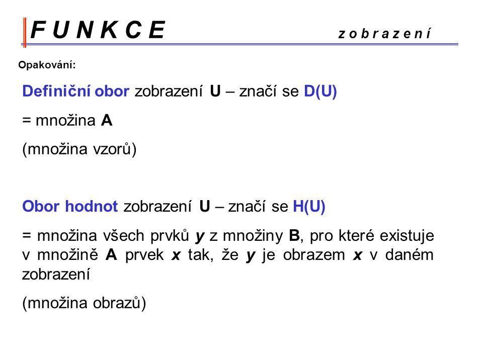 F U N K C E z o b r a z e n í Definiční obor zobrazení U – značí se D(U) = množina A (množina vzorů) Obor hodnot zobrazení U – značí se H(U) = množina všech prvků y z množiny B, pro které existuje v množině A prvek x tak, že y je obrazem x v daném zobrazení (množina obrazů) Opakování:
