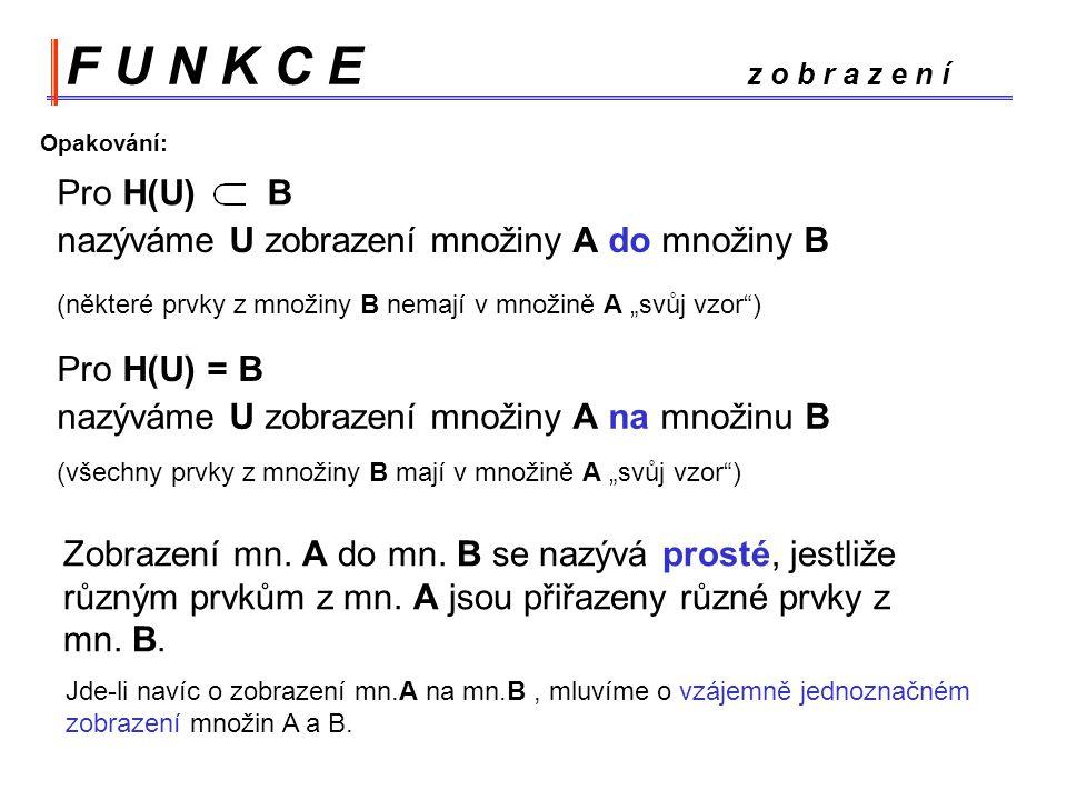 """F U N K C E z o b r a z e n í Pro H(U) Opakování: B nazýváme U zobrazení množiny A do množiny B Pro H(U) = B nazýváme U zobrazení množiny A na množinu B (některé prvky z množiny B nemají v množině A """"svůj vzor ) (všechny prvky z množiny B mají v množině A """"svůj vzor ) Zobrazení mn."""