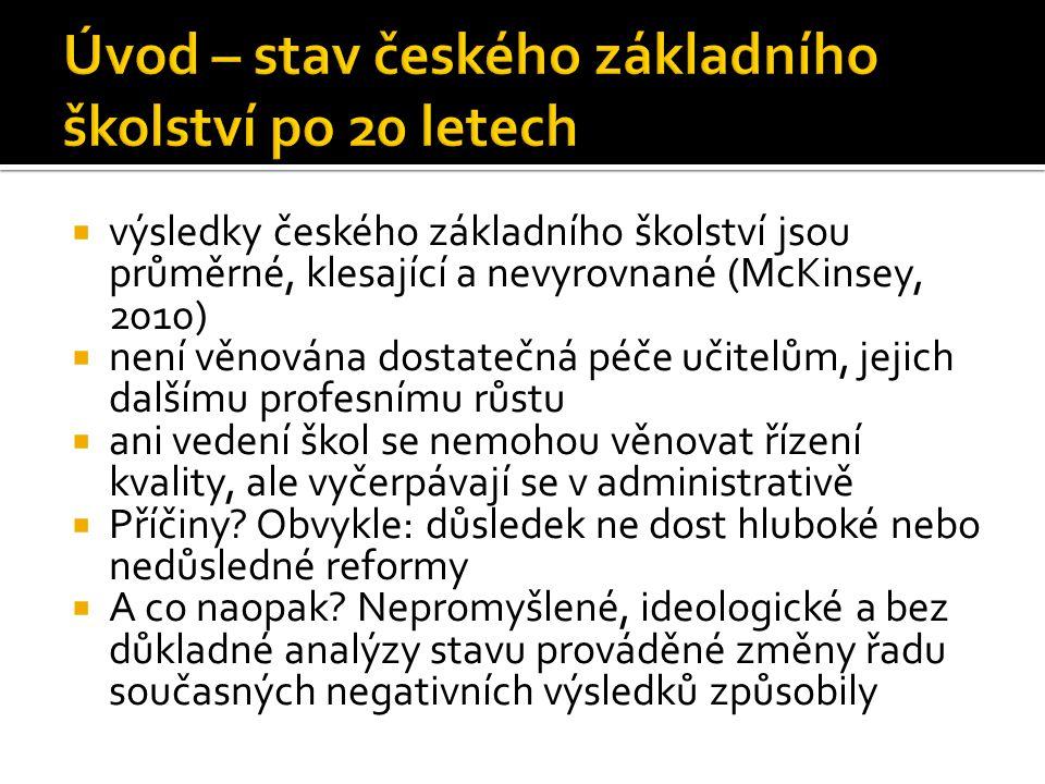  výsledky českého základního školství jsou průměrné, klesající a nevyrovnané (McKinsey, 2010)  není věnována dostatečná péče učitelům, jejich dalšímu profesnímu růstu  ani vedení škol se nemohou věnovat řízení kvality, ale vyčerpávají se v administrativě  Příčiny.