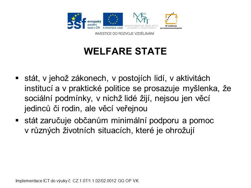 WELFARE STATE  stát, v jehož zákonech, v postojích lidí, v aktivitách institucí a v praktické politice se prosazuje myšlenka, že sociální podmínky, v nichž lidé žijí, nejsou jen věcí jedinců či rodin, ale věcí veřejnou  stát zaručuje občanům minimální podporu a pomoc v různých životních situacích, které je ohrožují Implementace ICT do výuky č.