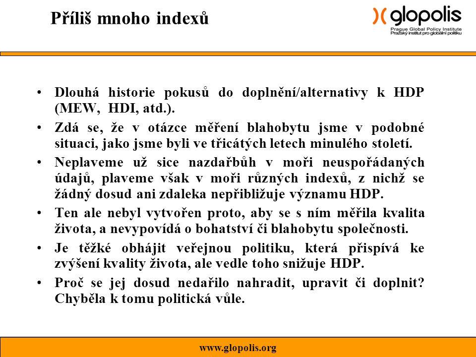 Dlouhá historie pokusů do doplnění/alternativy k HDP (MEW, HDI, atd.).