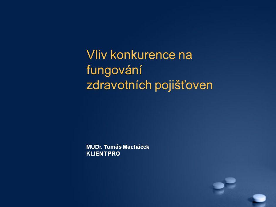 Vliv konkurence na fungování zdravotních pojišťoven MUDr. Tomáš Macháček KLIENT PRO
