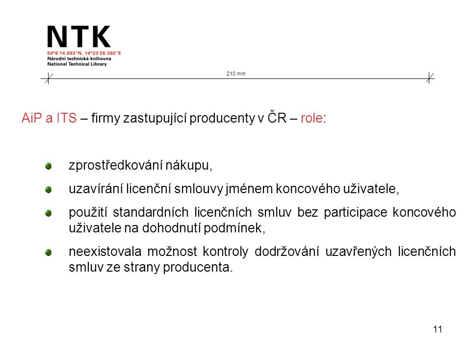 11 210 mm AiP a ITS – firmy zastupující producenty v ČR – role: zprostředkování nákupu, uzavírání licenční smlouvy jménem koncového uživatele, použití standardních licenčních smluv bez participace koncového uživatele na dohodnutí podmínek, neexistovala možnost kontroly dodržování uzavřených licenčních smluv ze strany producenta.