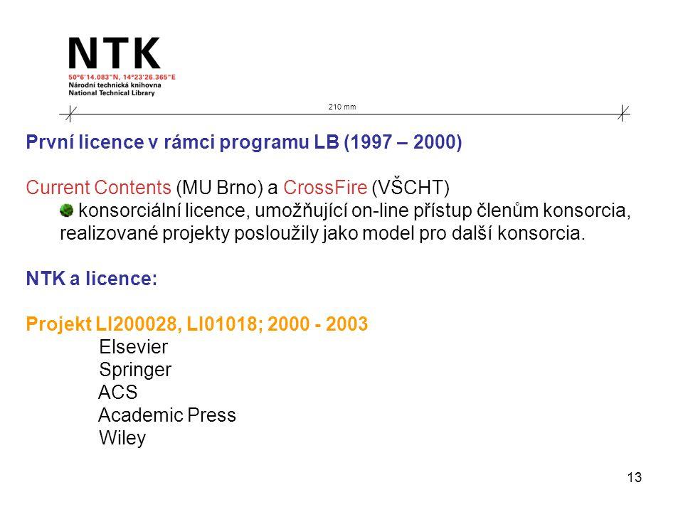 13 210 mm První licence v rámci programu LB (1997 – 2000) Current Contents (MU Brno) a CrossFire (VŠCHT) konsorciální licence, umožňující on-line přístup členům konsorcia, realizované projekty posloužily jako model pro další konsorcia.