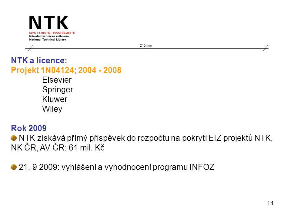 14 210 mm NTK a licence: Projekt 1N04124; 2004 - 2008 Elsevier Springer Kluwer Wiley Rok 2009 NTK získává přímý příspěvek do rozpočtu na pokrytí EIZ projektů NTK, NK ČR, AV ČR: 61 mil.