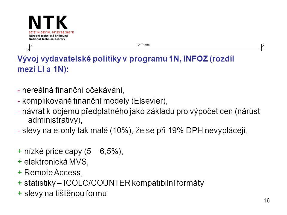 16 210 mm Vývoj vydavatelské politiky v programu 1N, INFOZ (rozdíl mezi LI a 1N): - nereálná finanční očekávání, - komplikované finanční modely (Elsev