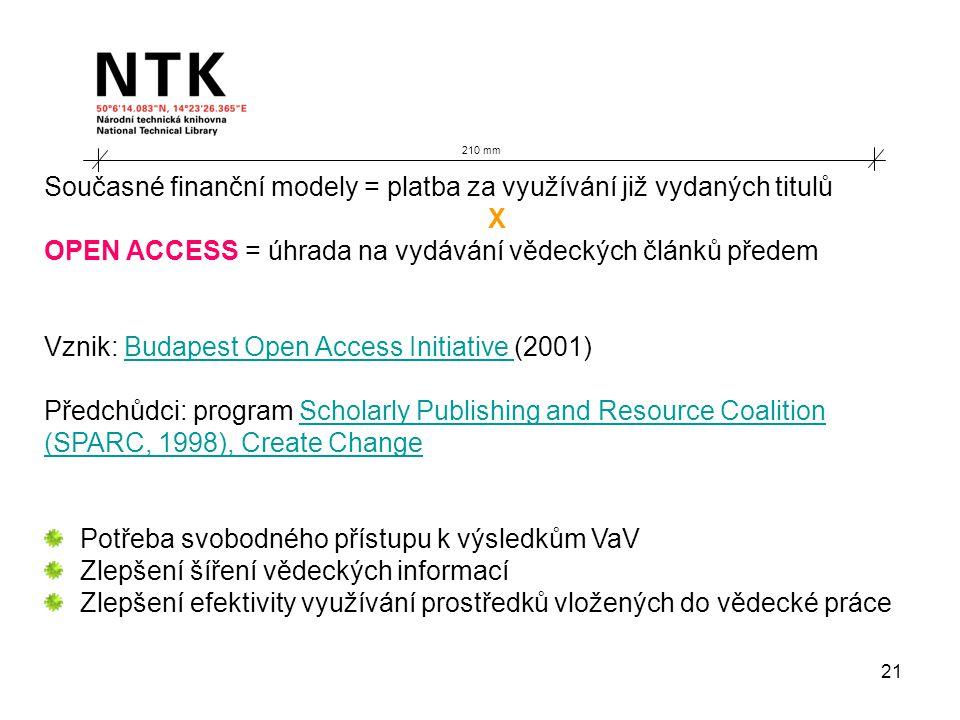 21 210 mm Současné finanční modely = platba za využívání již vydaných titulů X OPEN ACCESS = úhrada na vydávání vědeckých článků předem Vznik: Budapest Open Access Initiative (2001)Budapest Open Access Initiative Předchůdci: program Scholarly Publishing and Resource CoalitionScholarly Publishing and Resource Coalition (SPARC, 1998), Create Change Potřeba svobodného přístupu k výsledkům VaV Zlepšení šíření vědeckých informací Zlepšení efektivity využívání prostředků vložených do vědecké práce
