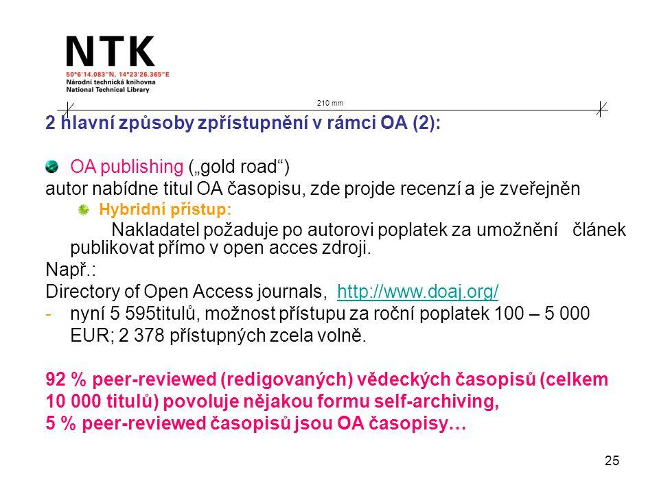 """25 210 mm 2 hlavní způsoby zpřístupnění v rámci OA (2): OA publishing (""""gold road ) autor nabídne titul OA časopisu, zde projde recenzí a je zveřejněn Hybridní přístup: Nakladatel požaduje po autorovi poplatek za umožnění článek publikovat přímo v open acces zdroji."""