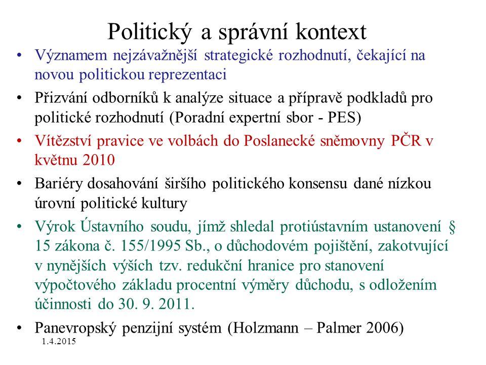 Politický a správní kontext Významem nejzávažnější strategické rozhodnutí, čekající na novou politickou reprezentaci Přizvání odborníků k analýze situ