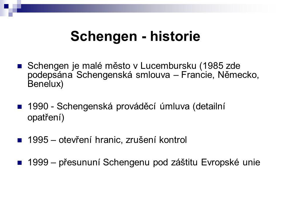 Schengen - rozšiřování 1985 – Lucembursko, Belgie, Nizozemí, Francie, Německo (1995) 1990 – Itálie (1998) 1992 – Portugalsko, Španělsko (1995), Řecko (2000) 1995 – Rakousko (1998) 1996 – Dánsko, Finsko, Švédsko (+ Norsko, Island) (2001) 2004 – Polsko, Česko, Slovensko, Maďarsko, Slovinsko, Litva, Estonsko, Lotyšsko, Malta (+ Švýcarsko) (2007)