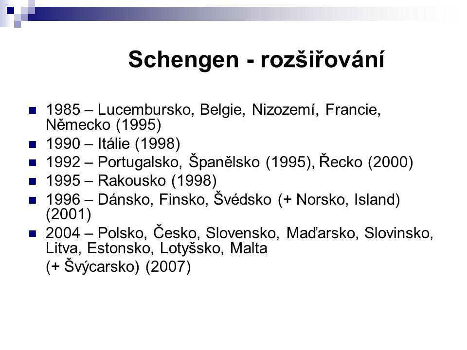 Schengen - principy odpadnutí povinnosti předkládat doklad totožnosti při překračování hranice mezi schengenskými státy možnost překročit hranice na libovolném místě přesun aktivit spojených s ochranou hranic na tzv.