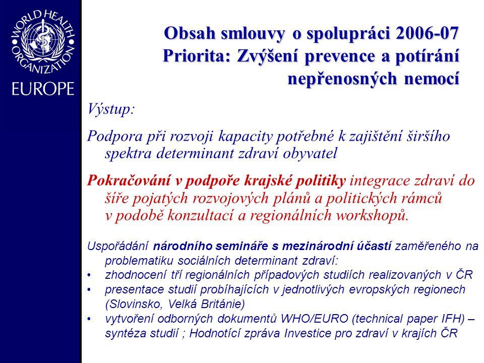 - Obsah smlouvy o spolupráci 2006-07 Priorita: Zvýšení prevence a potírání nepřenosných nemocí Obsah smlouvy o spolupráci 2006-07 Priorita: Zvýšení prevence a potírání nepřenosných nemocí Výstup: Podpora při rozvoji kapacity potřebné k zajištění širšího spektra determinant zdraví obyvatel Pokračování v podpoře krajské politiky integrace zdraví do šíře pojatých rozvojových plánů a politických rámců v podobě konzultací a regionálních workshopů.