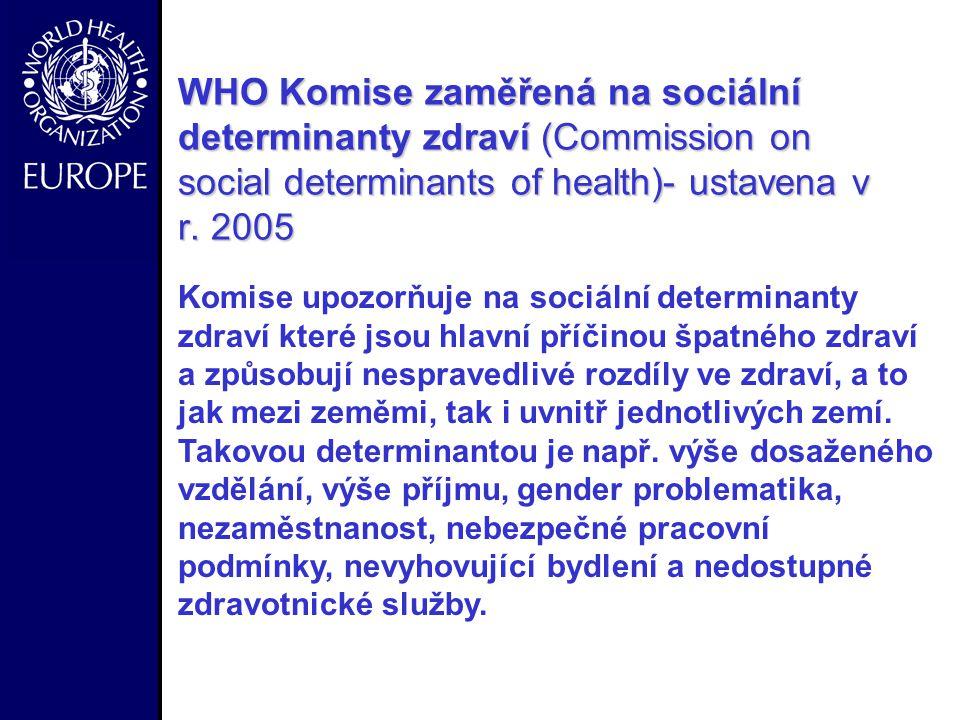 - WHO Komise zaměřená na sociální determinanty zdraví (Commission on social determinants of health)- ustavena v r.