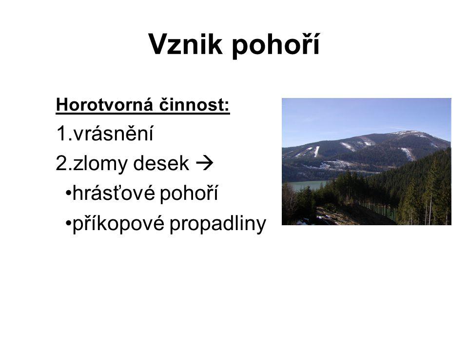 Vznik pohoří Horotvorná činnost: 1.vrásnění 2.zlomy desek  hrásťové pohoří příkopové propadliny