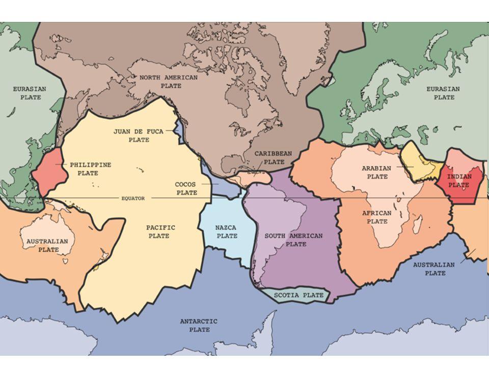 Pohyby litosférických desek: 1.Oddalování  oceánské hřbety, vznik nové desky.