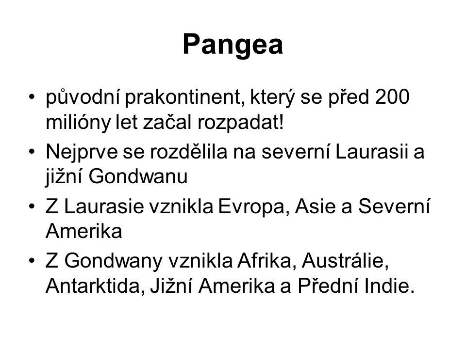 Pangea původní prakontinent, který se před 200 milióny let začal rozpadat! Nejprve se rozdělila na severní Laurasii a jižní Gondwanu Z Laurasie vznikl