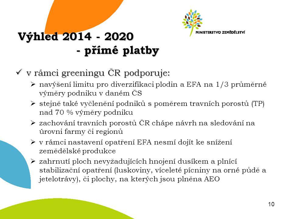 Výhled 2014 - 2020 - přímé platby v rámci greeningu ČR podporuje: v rámci greeningu ČR podporuje:  navýšení limitu pro diverzifikaci plodin a EFA na