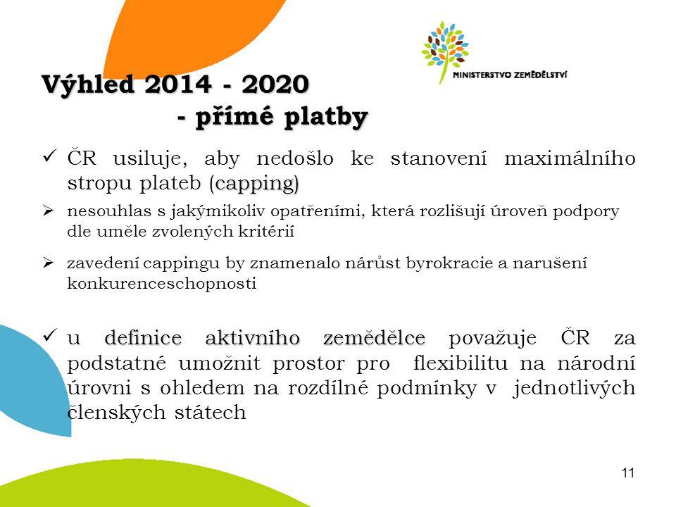 Výhled 2014 - 2020 - přímé platby capping) ČR usiluje, aby nedošlo ke stanovení maximálního stropu plateb (capping)  nesouhlas s jakýmikoliv opatření