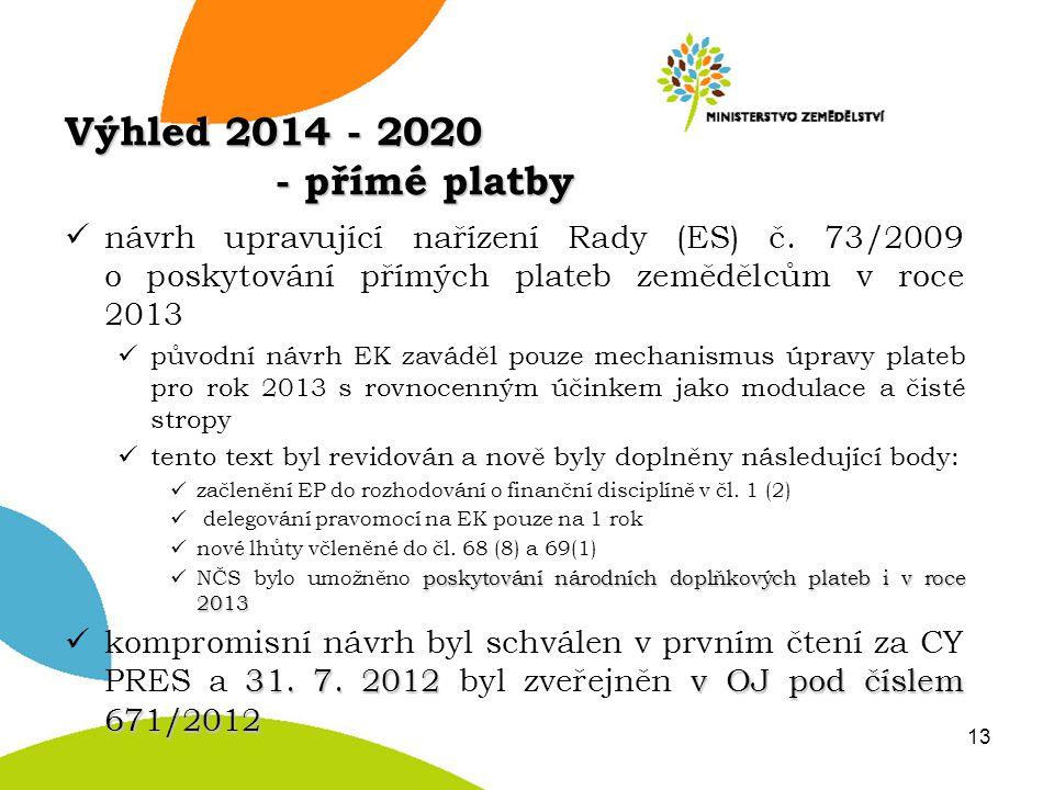 Výhled 2014 - 2020 - přímé platby návrh upravující nařízení Rady (ES) č. 73/2009 o poskytování přímých plateb zemědělcům v roce 2013 původní návrh EK