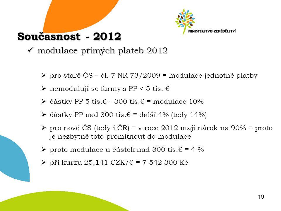 modulace přímých plateb 2012 modulace přímých plateb 2012  pro staré ČS – čl. 7 NR 73/2009 = modulace jednotné platby  nemodulují se farmy s PP < 5
