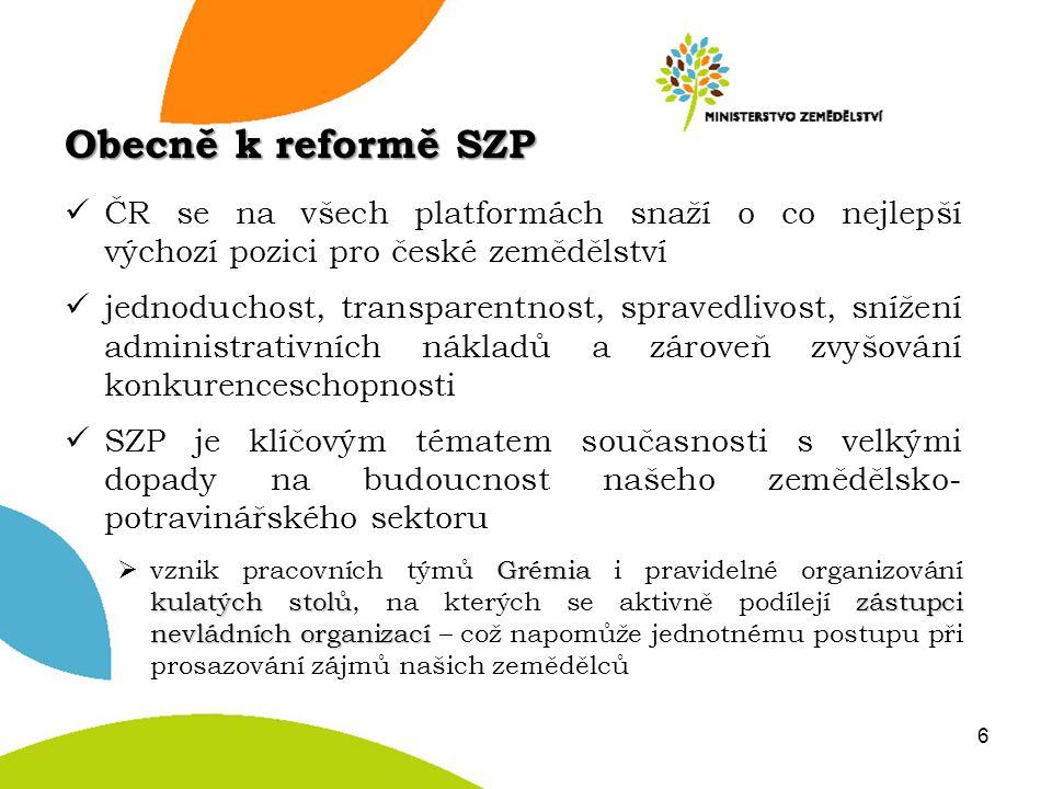 ČR se na všech platformách snaží o co nejlepší výchozí pozici pro české zemědělství jednoduchost, transparentnost, spravedlivost, snížení administrati