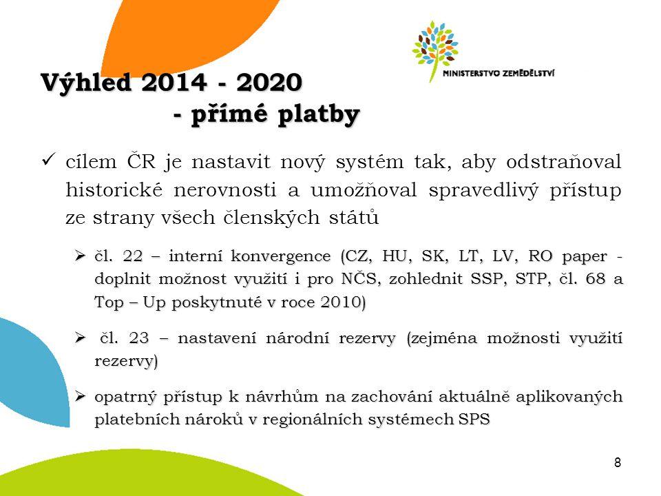 Výhled 2014 - 2020 - přímé platby cílem ČR je nastavit nový systém tak, aby odstraňoval historické nerovnosti a umožňoval spravedlivý přístup ze stran
