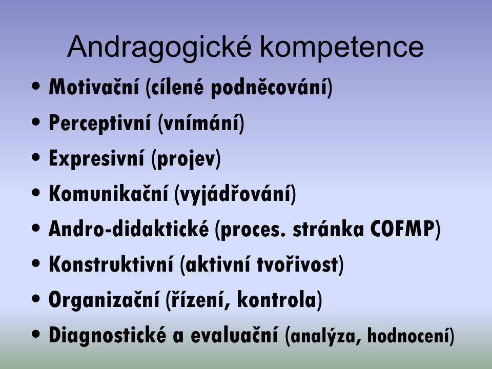 Andragogické kompetence Motivační (cílené podněcování) Perceptivní (vnímání) Expresivní (projev) Komunikační (vyjádřování) Andro-didaktické (proces. s