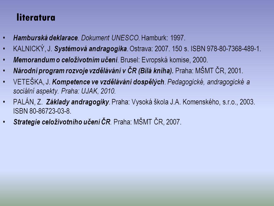 Hamburská deklarace. Dokument UNESCO. Hamburk: 1997. KALNICKÝ, J. Systémová andragogika. Ostrava: 2007. 150 s. ISBN 978-80-7368-489-1. Memorandum o ce