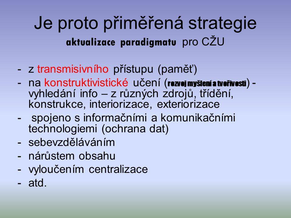 Je proto přiměřená strategie aktualizace paradigmatu pro CŽU -z transmisivního přístupu (paměť) -na konstruktivistické učení ( rozvoj myšlení a tvořiv